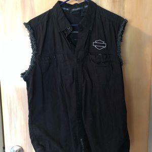 Harley-Davidson Shirts - Harley-Davidson Black Cut Off Button Shirt Sz L